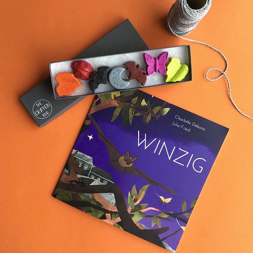 Winzig the Bat Crayons & Book Bundle