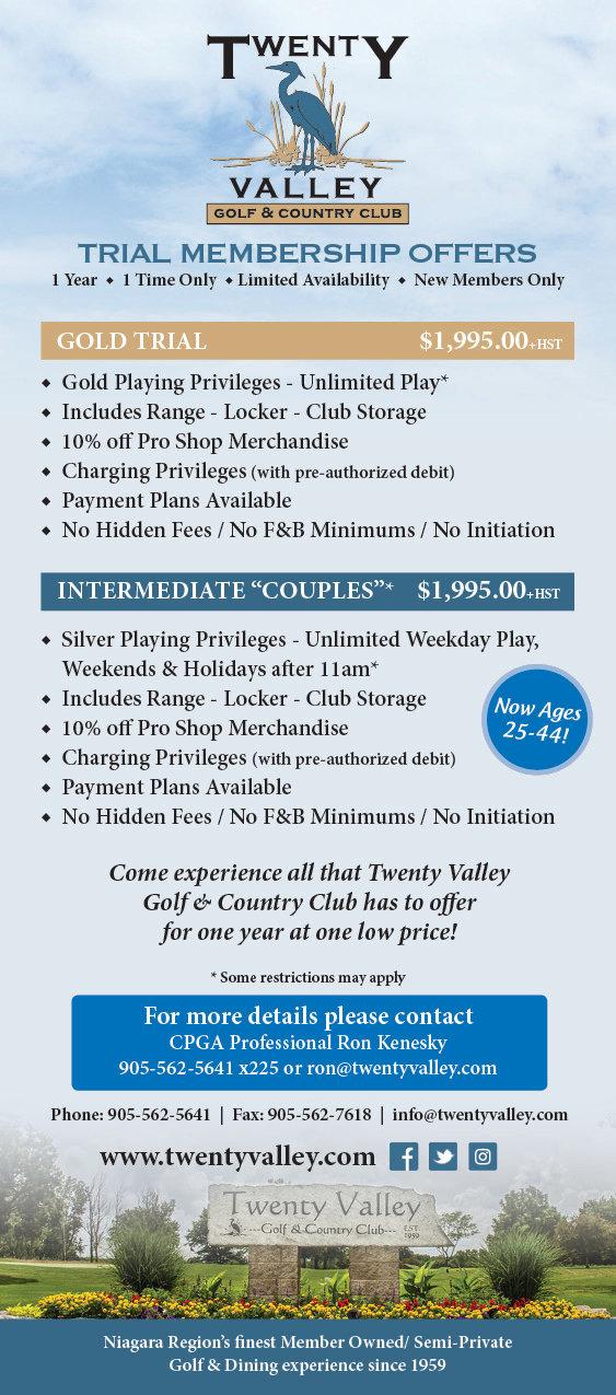Twenty Valley Trial Membership Offers 20