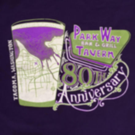 Parkway Tavern 80th Anniversary Logo, Tacoma, WA.