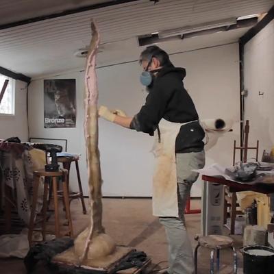 Artist Pam Foley Making a Garden Sculpture