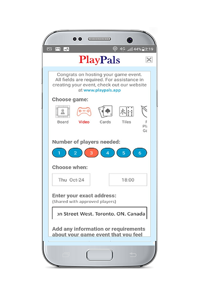 PlayPals app create game page.png