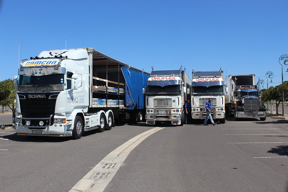 Water laden trucks arrive at Cape Town Motor Show