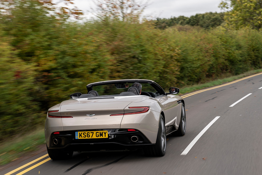 2019 Aston Martin DB11 Volante driving rear