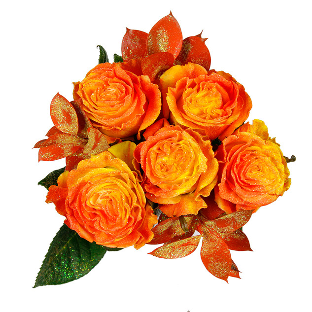 Apricot Enhanced Rose Bouquet