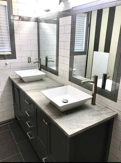 Custom Vanity Replacement And Bathroom Remodel By Premium Design LLC.