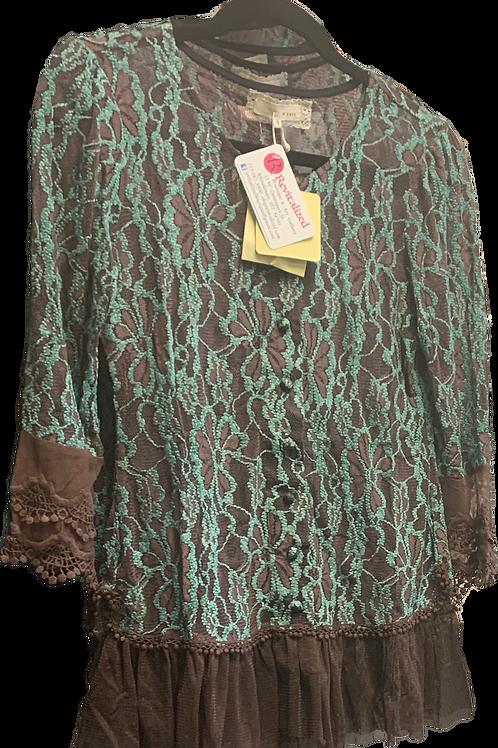 Beautiful Brown chiffon with Mint lace overlay