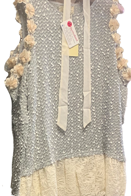 Gray Soft Top with cold shoulder and roses, ivory lace bottom