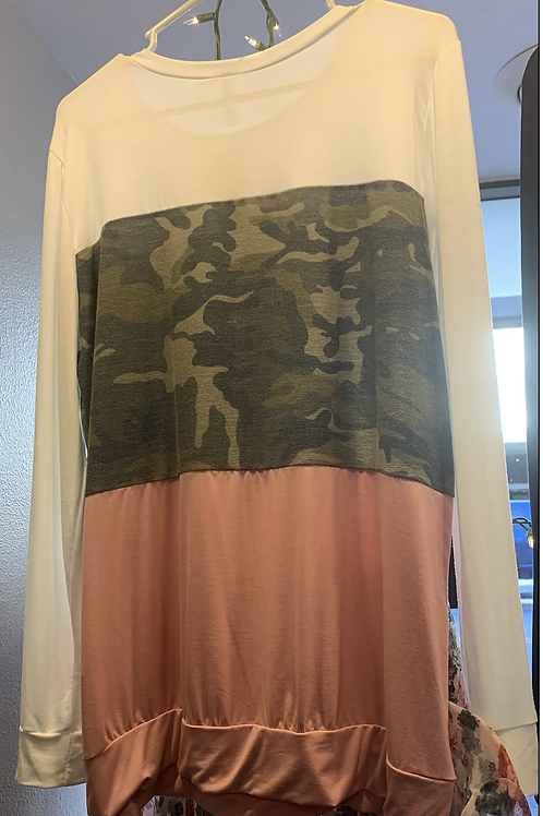 Pink/white/camo long sleeved top