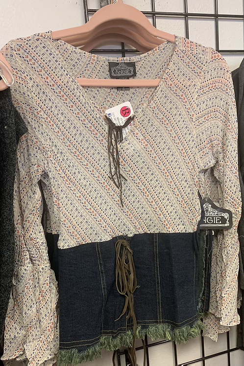 Boho top with jean accent on bottom