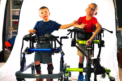Carson and Chase Miller in their gait trainers