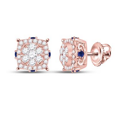 0.75 CTW Diamond & Blue Sapphire Composite Stud Earrings