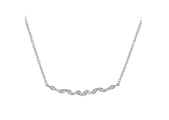 0.10 CTW Diamond Curved Bar Necklace