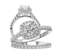 14KT White Gold 0.57 CTW Diamond Semi Mounting Bridal Set
