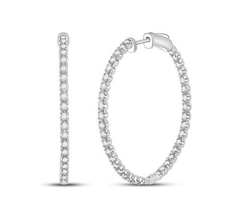 1.75 CTW Diamond Inside Out Hoop Earrings