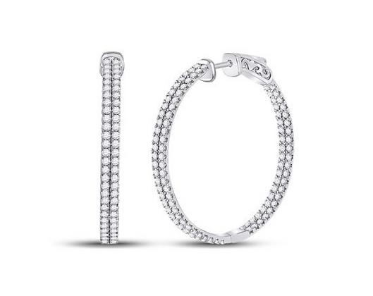 2.00 CTW Diamond Inside Out Hoop Earrings