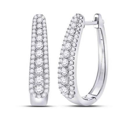 1.00 CTW Diamond Hoop Earrings