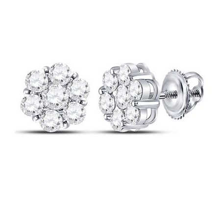 2.10 CTW Diamond Flower Composite Stud Earrings