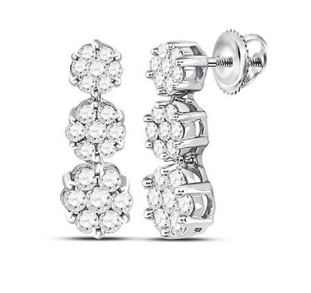 1.00 CTW Diamond Flower Composite Dangling Earring