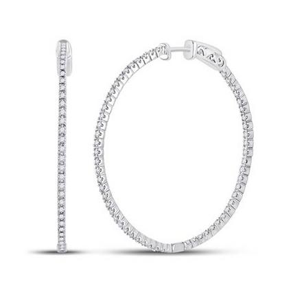 0.90 CTW Diamond Inside Out Hoop Earrings