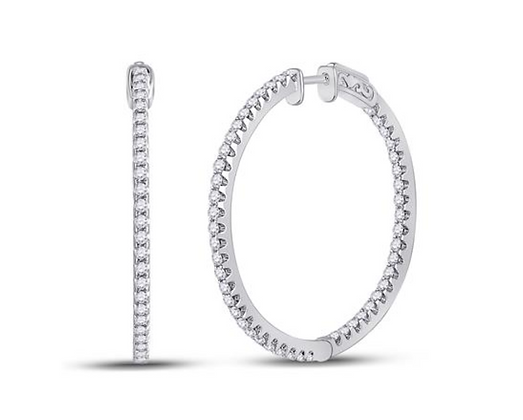 1.50 CTW Diamond Inside Out Hoop Earrings