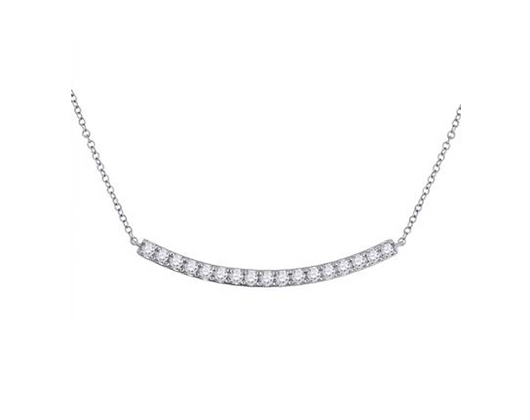 0.75 CTW Diamond Curved Bar Necklace