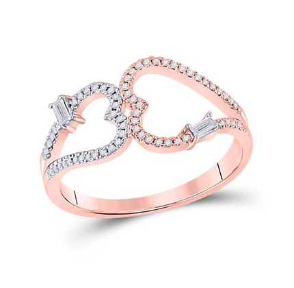 0.20 CTW Diamond Double Heart Band