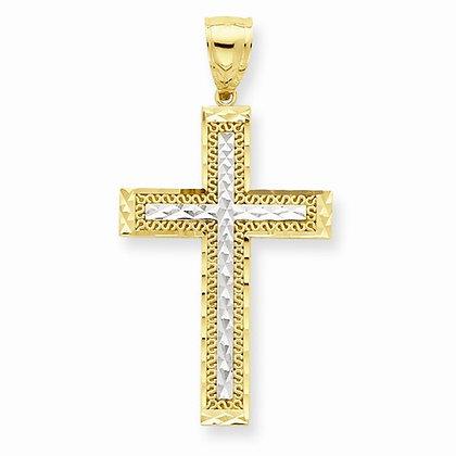 10K Diamond-Cut Cross Pendant