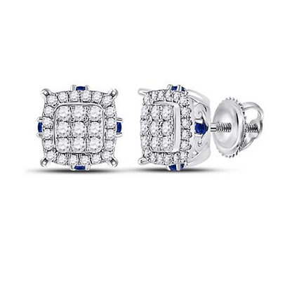 0.75 CTW Diamond & Blue Sapphire Composite Stud Earrings