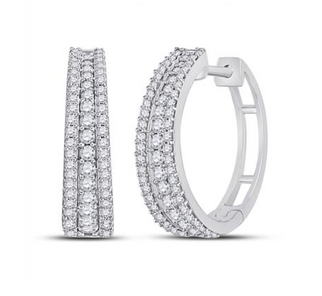1.00 CTW Diamond Hoop Earrings