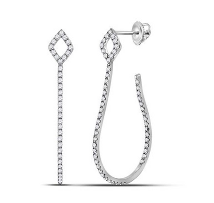 0.75 CTW Diamond Inside Out Hoop Earrings