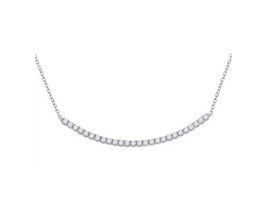 1.00 CTW Diamond Curved Bar Necklace