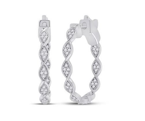0.25 CTW Diamond Hoop Earrings