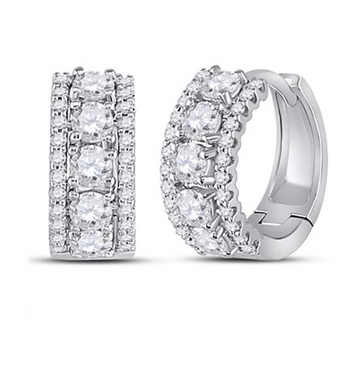 1.00 CTW Diamond Huggie Hoop Earrings