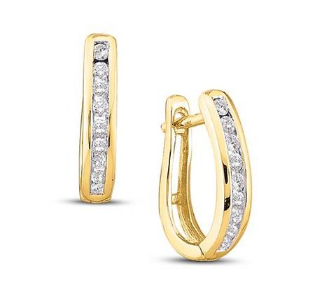 0.25 CTW Diamond Huggie Hoop Earrings