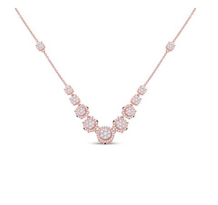 2.25  CTW Diamond Cluster Necklace with Blue Sapphire Accents