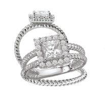 Bridal Set 14K Diamond Princess & Cushion Halo