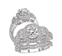 Bridal Set 14K Diamond Round Center Halo