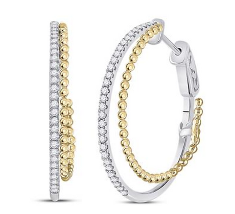 0.50 CTW Diamond Double Hoop Earrings