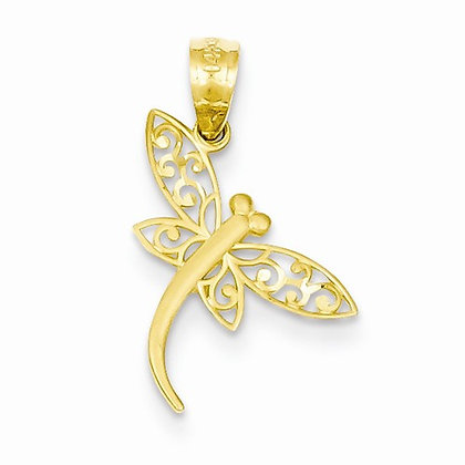 14K Diamond Cut Dragonfly Pendant