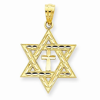 14K Diamond-Cut Star of David with Cross Pendant