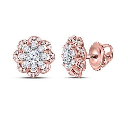 1.00 CTW Diamond Flower Composite Stud Earrings