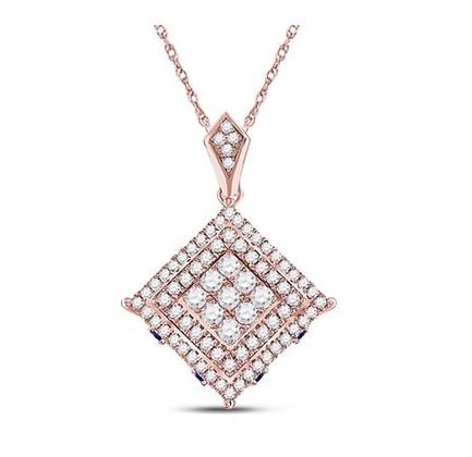 0.90 CTW Diamond Composite Pendant with Blue Sapphires