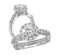 Bridal Set 14K Diamond Round Center Halo