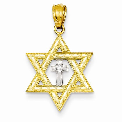14K Star of David with Cross Charm