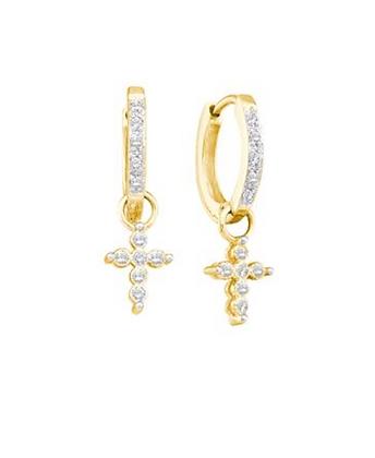 0.10 CTW Diamond Dangling Hoop Earrings