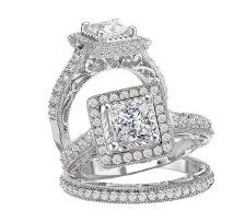 Bridal Set 14K Diamond Princess & Cushion Halo