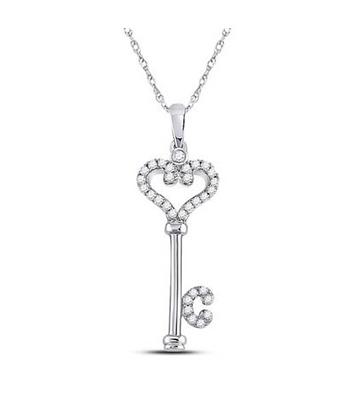 0.15 CTW Diamond Heart Key Pendant