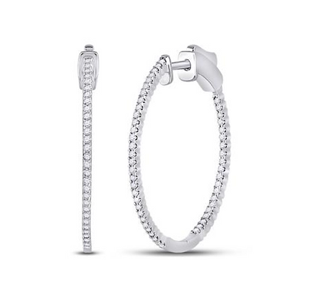 0.50 CTW Diamond Inside Out Hoop Earrings