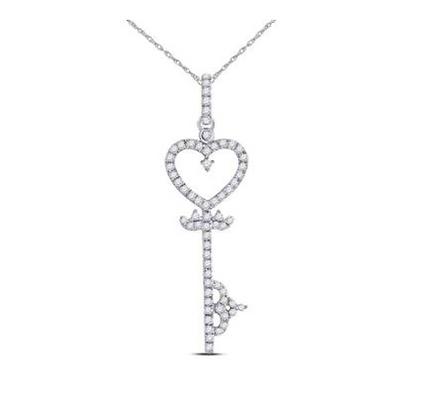 0.20 CTW Diamond Heart Key Pendant