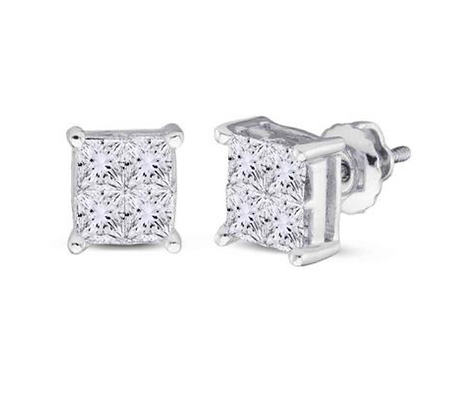1.00 CTW Diamond Princess Cut Stud Earrings